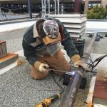 Gas pipe welding at Menlo-Atherton High School