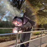 Handrail welding at Hellyer Park